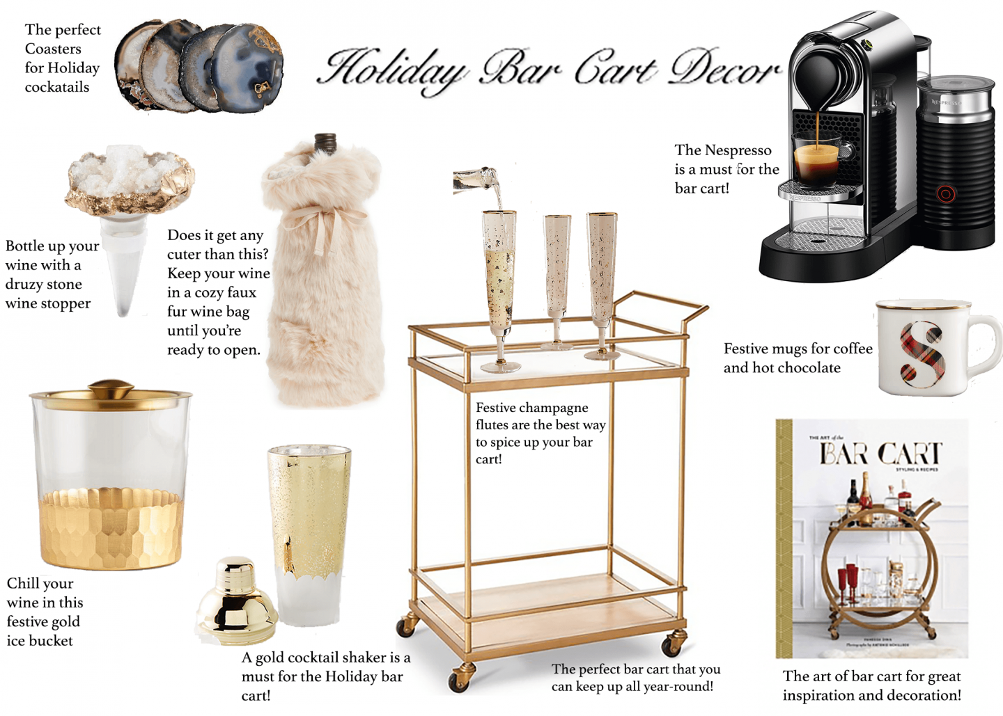 Festive Bar Cart Decor